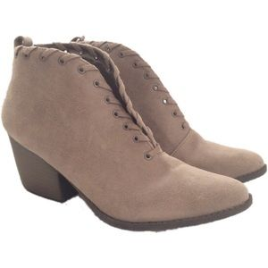 Coconuts Matisse Taupe Suede Braided V-Cut Booties